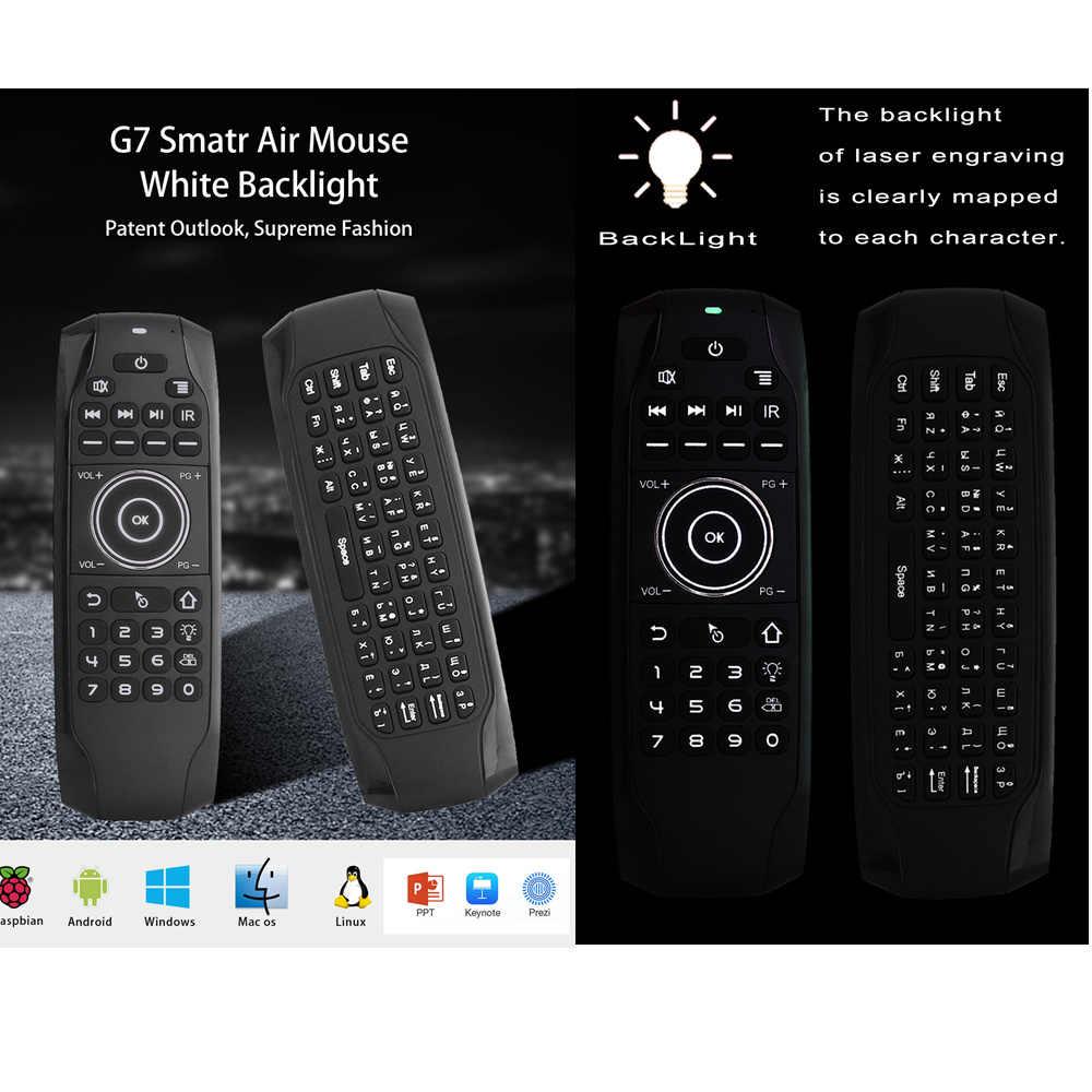 L8STAR G7 รัสเซีย Backlit Fly Air เมาส์ IR การเรียนรู้ไร้สาย Mini คีย์บอร์ด Universal 2.4G รีโมทคอนโทรลสำหรับ Android กล่องทีวี