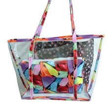 цена на Premium New PVC Printing Tote Clear Handbag Jelly Handle Bag Shoulder Bags Women Purse Clutch With Inner Bag For Beach Summer