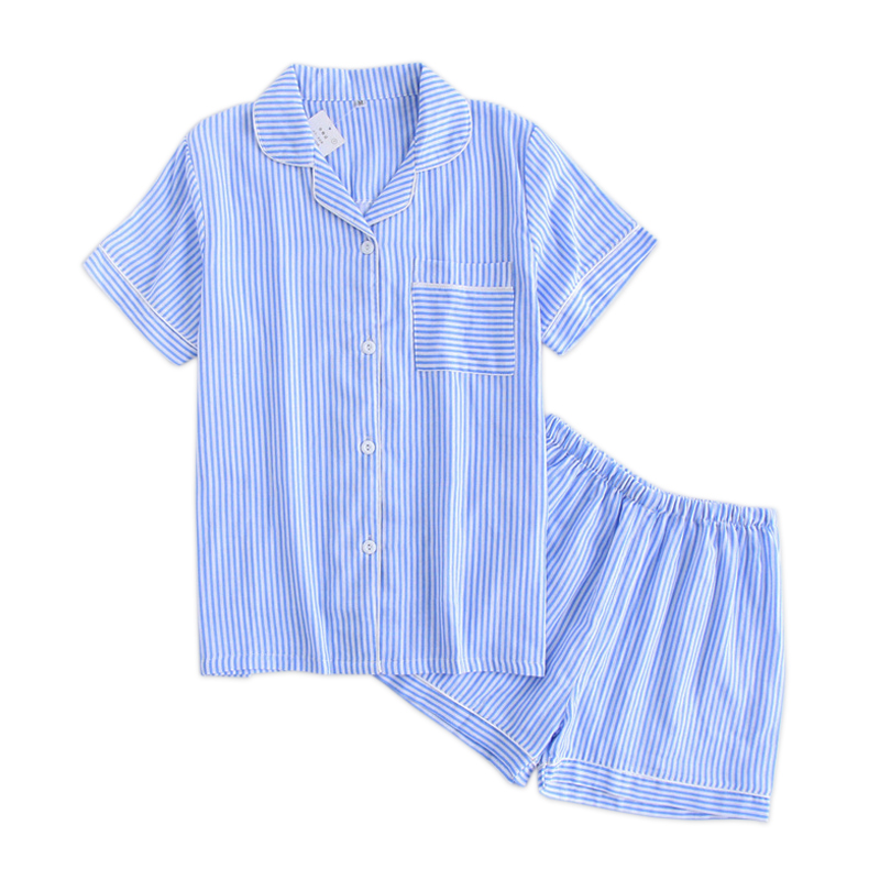 Fresh stripes shorts   pajamas     sets   women pyjamas Summer short sleeves 100% gauze cotton sexy korean indoor sleepwear pijamas