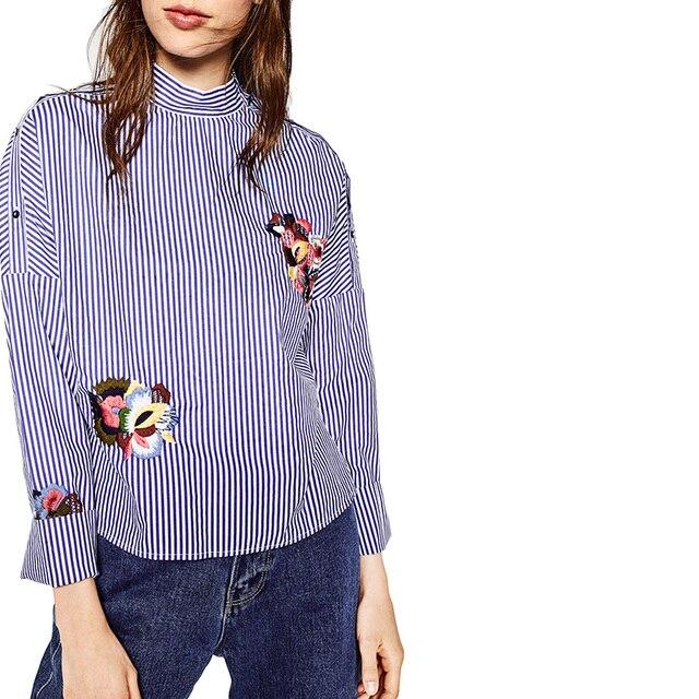 Женщины элегантный полосатый цветочные вышивки рубашки полный хлопка с длинным рукавом стенд воротник свободные блузки повседневные топы blusas LT1145