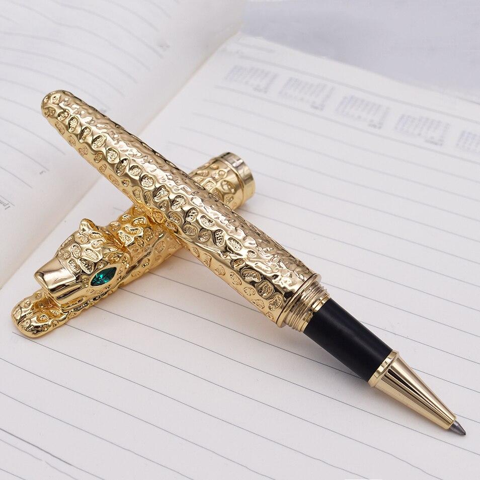 Nouveau Jinhao guépard plein métal doré stylo à bille roulante luxueux exquis avancé écriture cadeau stylo pour les affaires diplômé bureau