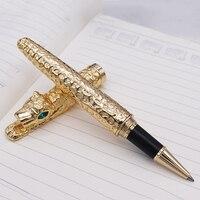 새로운 jinhao 치타 풀 메탈 골든 롤러 볼 펜 고급스러운 절묘한 고급 쓰기 선물 펜 비즈니스 대학원 사무실|볼펜|   -