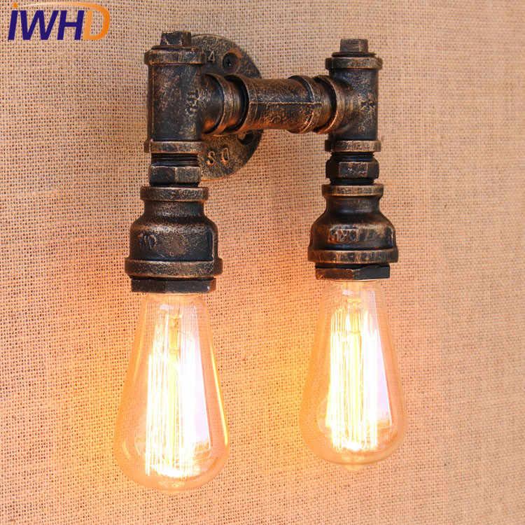 Ретро iwhd чердак стиль Промышленная водопроводная труба лампа железная винтажная настенная лампа для дома прикроватная Эдисон настенная бра освещение в помещении
