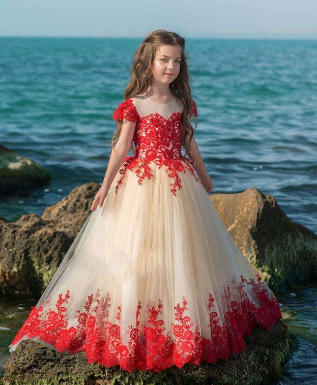 цена на Gorgeous red lace appliques fairy dress floor length little girl princess dresses for birthday party and prom with cap sleeves