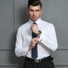 Fransız manşetli gömlekler erkek uzun kollu resmi iş elbisesi gömlek katı dimi parti düğün smokin giyim kol düğmeleri