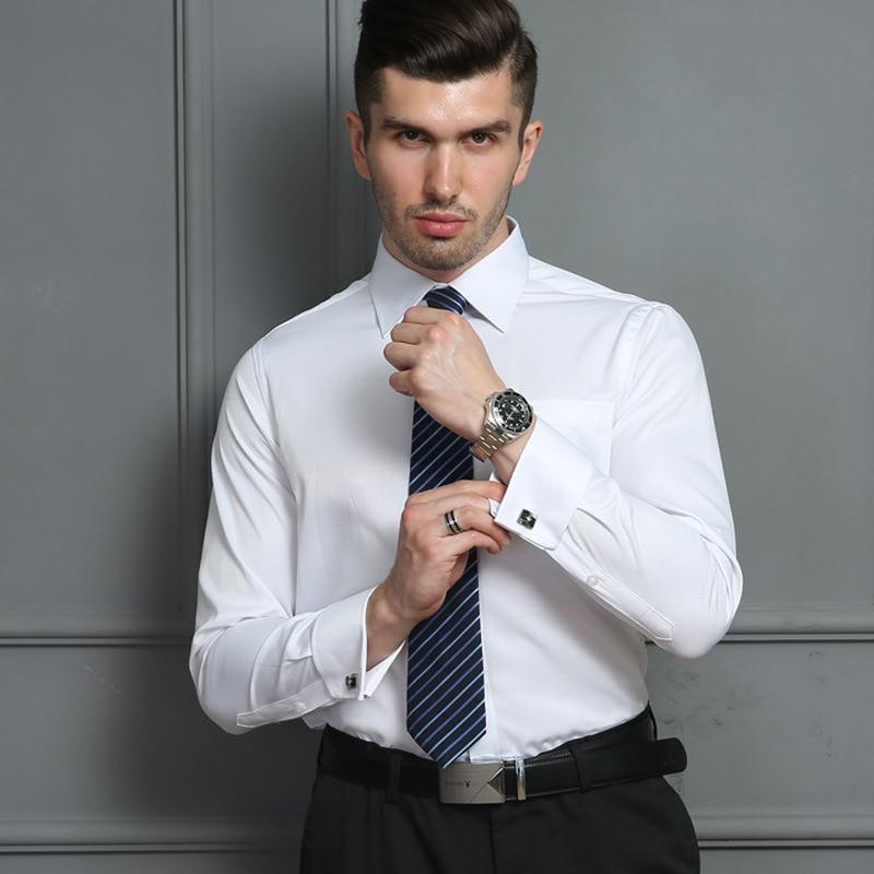 French Cuff Shirts Mens Formal Business Dress Shirt
