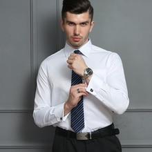 צרפתית שרוול חולצות Mens ארוך שרוול פורמליות עסקי שמלת חולצה מוצק אריג מסיבת חתונה טוקסידו בגדים עם חפתים