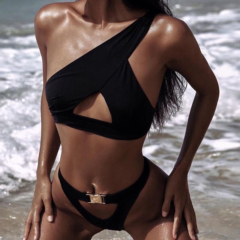 HTB1e72QbfjsK1Rjy1Xaq6zispXau In-X One shoulder bikini 2019 Buckle high cut swimsuit Sexy thong bikini Hollow out bathing suit White push up swimwear women