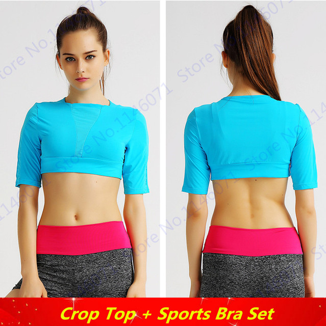 b03842003206d Sky Blue Fitness Aerobics Crop T-Shirt Slim Fit Half-Sleeved Sports Running  Shirts Solid Color Fitness Gym Tee Tops Women Blouse