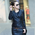 2017 Spring Women Turn-down Collar Short Leather Jacket  plus size Slim Zippers Motorcycle PU Leather Coat Leather Outerwear
