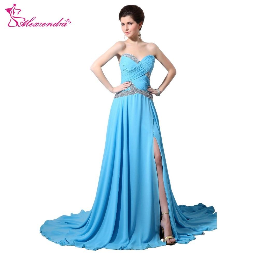 Alexzendra A Line Blue Chiffon Long   Prom     Dresses   with Side Slit Pleats Beads Long Evening Gowns Party   Dress   Plus Size