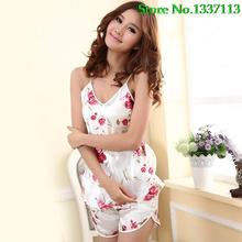 Hot Women s Sexy Floral Sleepwear Braces Shirts Shorts Underwear Pajamas Robes Set 5Q16 BE16