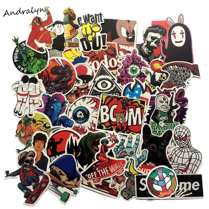 50PCS/Set Mixed Waterproof Retro Cartoon Graffiti Popular Sticker For Laptop Skateboard Notebook Car Motorcycle Toy  Stickers