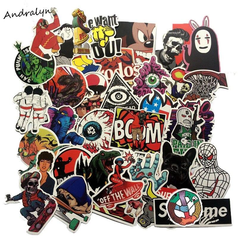 50pcs/set Mixed Waterproof Retro Cartoon Graffiti Popular Sticker For Laptop Skateboard Notebook Car Motorcycle Toy  Stickers