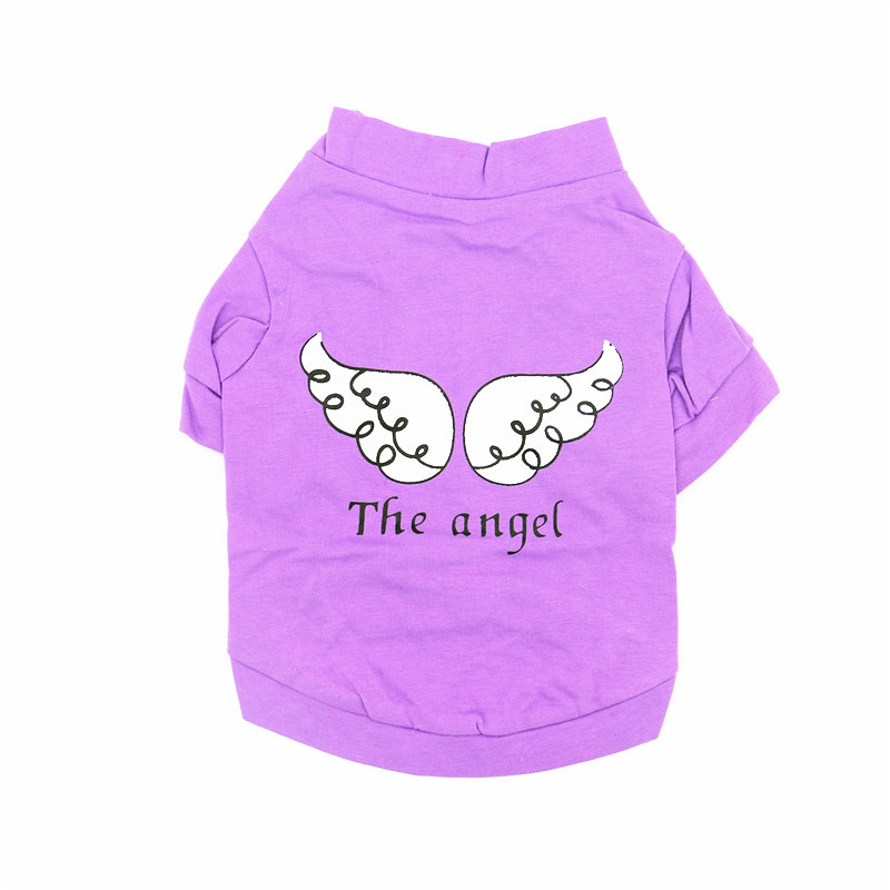 The Angel Spring Summer Cute Dog Vest Cotton Breathable Short Sleeve T-shirt Pet Clothes for Small Dogs Chihuahua Bulldog JHB20