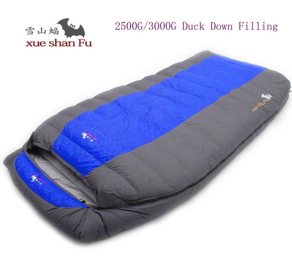Haute qualité double personne 2500g/3000g duvet de canard de remplissage étanche confortable camping sac de couchage
