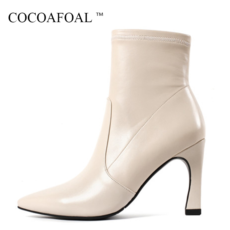 COCOAFOAL Woman Autumn Winter Ankle Boots Plus Size 33 40 Black Genuine Leather Martin Boots Fashion Sexy High Heeled Shoes 2018 women boots plus size 35 43 genuine leather autumn winter ankle boots black wine red shoes woman brand fashion motorcycle boot