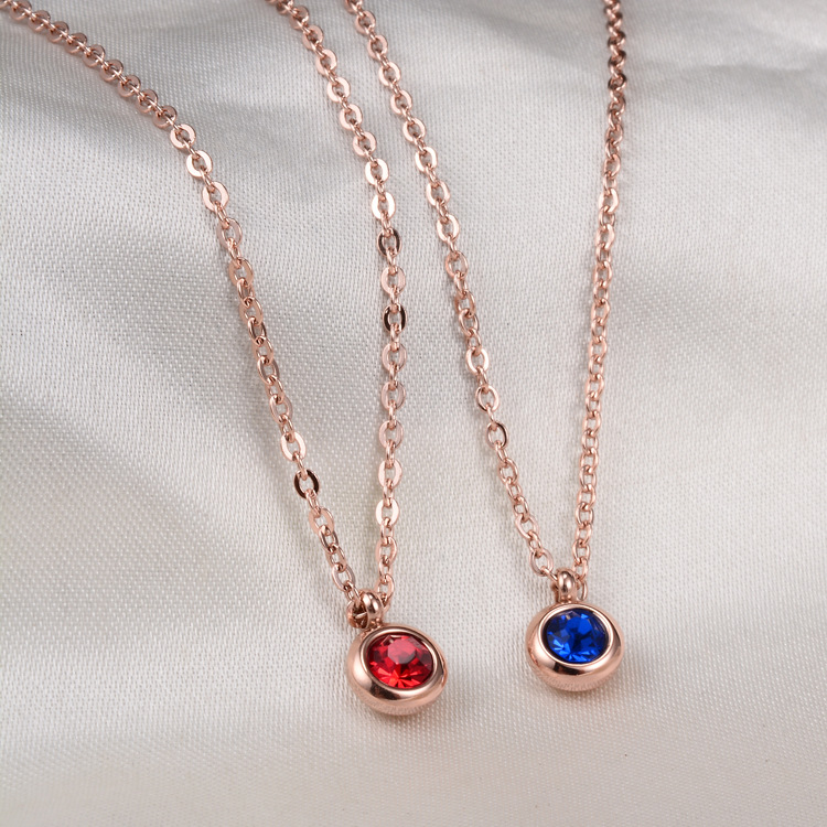 Rose gold color round blue/red crystal pendant necklace women fashion jewelry colar feminino, stainless steel necklace bijoux