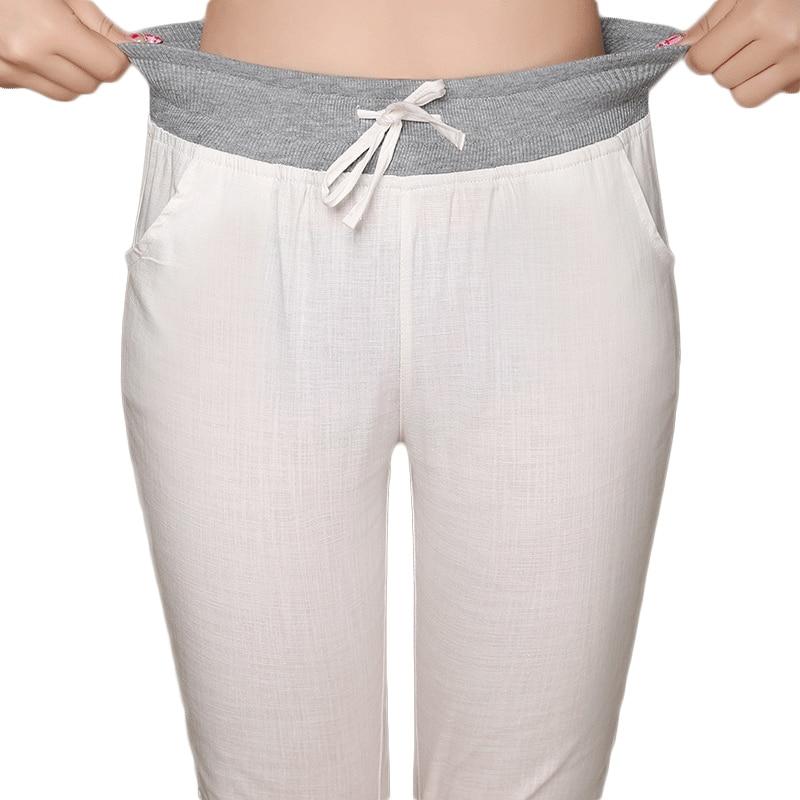 Plus Size S-4XL Summer Women's Elastic High Waist Capris Pants Candy Color Casual Calf Length Harem Trousers Women Linen Pants
