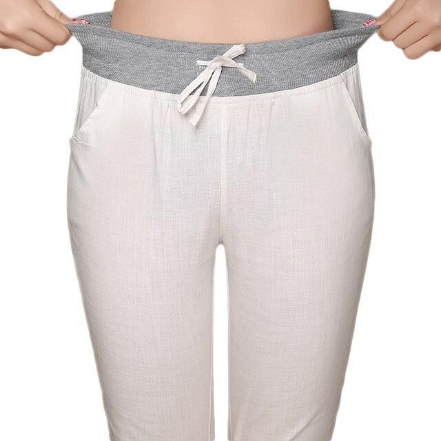 3834bf3f7e0 Plus Size S-4XL Summer Women s Elastic High Waist Capris Pants Candy Color Casual  Calf Length Harem Trousers Women Linen Pants