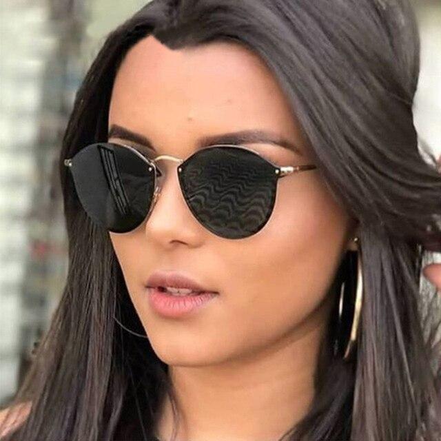 50b09527b Moda gato ojo gafas de sol mujer 2018 nuevo lujo lindo rimless gafas de sol  cateye