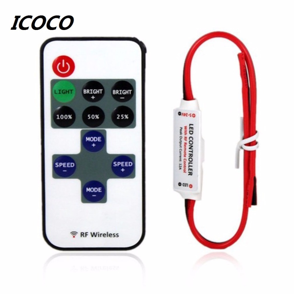 2017 Mini Wireless Switch Controller Dimmer 12V RF LED Strip Light s dálkovým ovládáním In-line LED Light Controller / Dimmer Hot