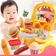 Kitchen Cooking Utensils Dressing Table Hamburger Suitcase Cart Trolley Family Education Girls Children Colorful Simulation Toys children play simulation kitchen cooking utensils