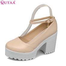 QUTAA White Ladies Summer Shoes Square High Heel PU leather Ankle Strap Woman Pumps Ladies Wedding Shoe Size 34-43(China)