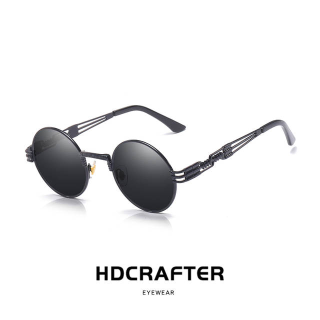 093794a607ee2 placeholder HDCRAFTER vintage retro gothic steampunk mirror sunglasses gold  and black sun glasses round circle men UV