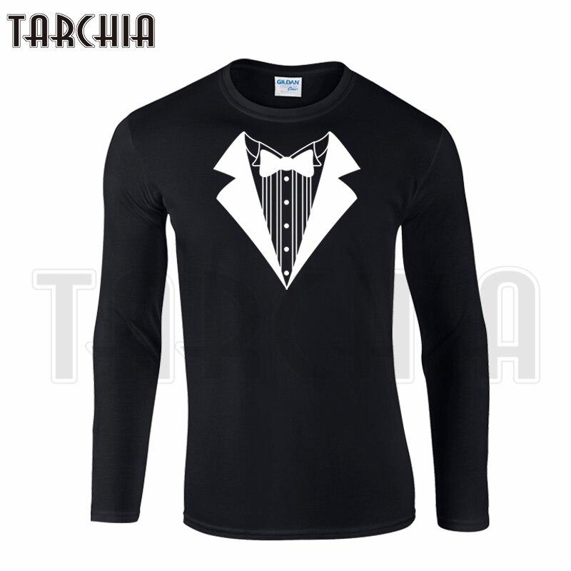 TARCHIA Hot Selling 3D Print Suit Collar Men's Long Sleeve T-Shirt 100% Cotton Boy Women Wear Cool Fashion T Shirt Plus Size