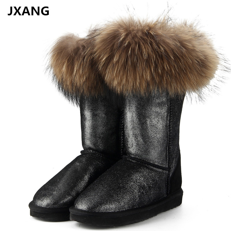 JXANG Fashion Natural Real Fox Fur Women Winter Snow Boots Warm Long Boots Genuine Cow Leather High Winter Boots Women Shoes inoe fashion big fox fur real cow split leather high winter snow boots for women winter shoes tall boots waterproof high quality
