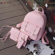 3pcs/Set PU Leather Women Backpack Girls Solid Shoulder School Backpack Lady Composite Bag Mochila Feminina