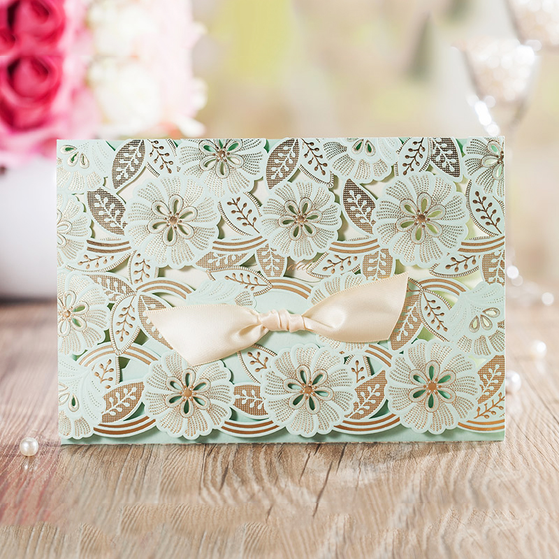 Design New Type Green Ribbons Bow Invitations For Wedding Blank Paper elegant Printing Invitation Card Kit Invite design laser cut lace flower bird gold wedding invitations kit paper blank convite casamento printing invitation card invite