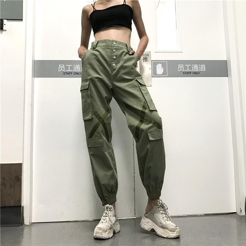 2019 последние весенние модные брюки карго женские с высокой талией Stresswear зеленые свободные рабочие брюки женские мужские Штаны Капри XM427 - 5