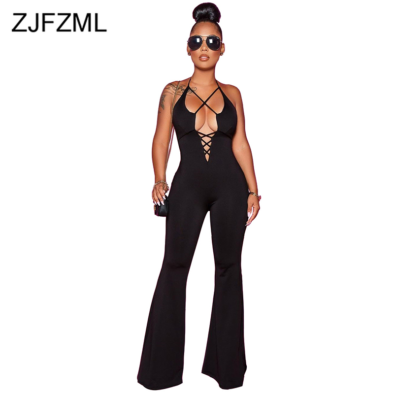 Sexy Tie Up Cut Out Overalls For Women Backless Halter Bodycon Flare Jumpsuit Elegant Summer High Waist Bandage Party Rompers