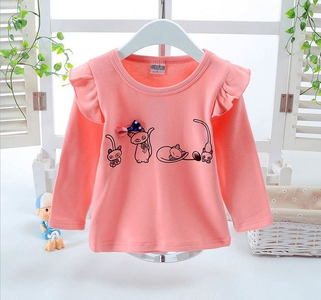 Girls Tops Retail T-shirts for Girls Long Sleeve  Infantile Princess Children Cartoon Clothing Kids Children's t-shirts