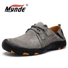 Mynde novo couro genuíno sapatos casuais homens mocassins camurça sapatos de treinamento ao ar livre respirável sapatos caminhada zapatos tênis
