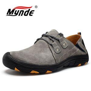 Image 1 - Mynde חדש אמיתי עור נעליים יומיומיות גברים ופרס זמש גברים נעליים לנשימה חיצוני אימון נעלי הליכה Zapatos סניקרס