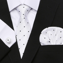 Polka dot  Classic 100%Silk Jacquard Woven Men Necktie set BowTie Pocket Square Handkerchief Cufflink Suit Set