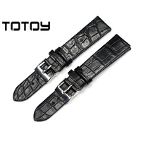 TOTOY 18MM 20MM 22MM Black Crocodile Strap Soft Leather Strap Genuine Alligator Strap Men's Strap