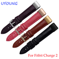 Para fitbit cargo 2 pulseras 20*18mm banda reloj de cuero genuino negro rojo smart watch pulsera para hombres