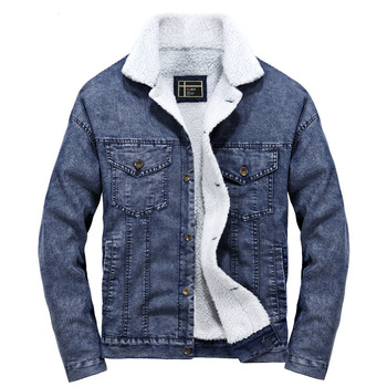 Idopy Winter Men`s Denim Jacket Fur Lined Vintage Thermal Warm Coat For Cold Weather Male Outerwear Plus Size