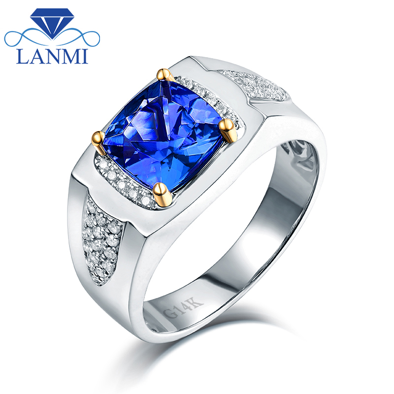 tanzanite cushion mens first and product ring diamond state cut