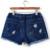 Plus Size Azul Denim Shorts 4Xl 5Xl Xl Sexy Mulheres Verão Buraco Destruído Shorts Jeans de Grandes Dimensões Casuais Jeans Curto Feminino