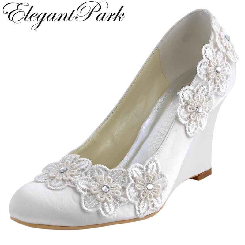 Women Wedges WP1416 Evening Party Round Toe Ivory High Heel Appliques Pumps Satin Bride lady Wedding