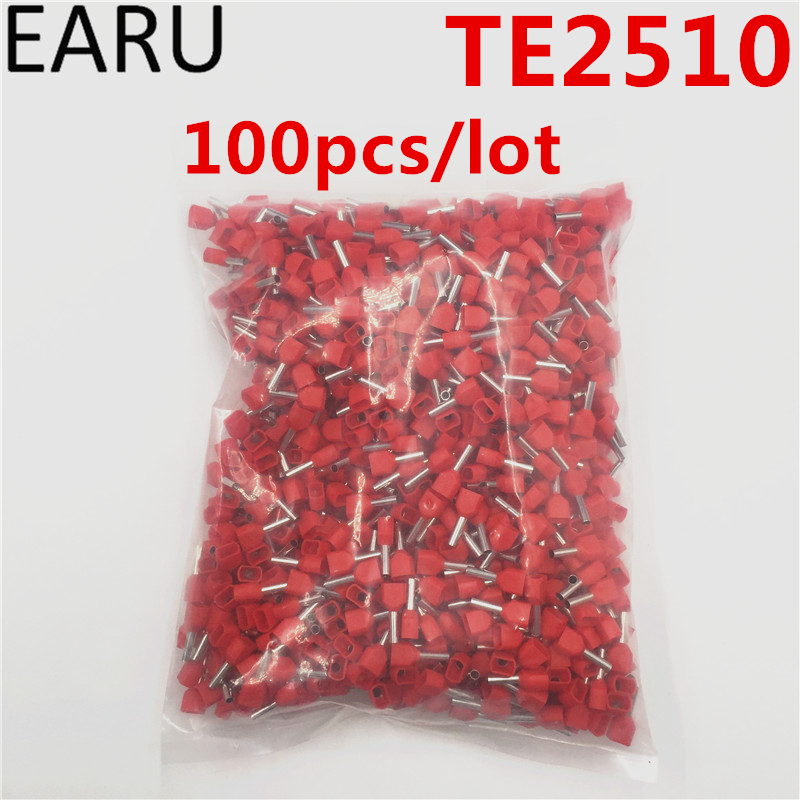 100PCS E Tube TE2510 Type Double Pipe Insulated Twin Cord Cold-press Terminal Block Connector Needle End Multicolor 2X2.5 mm2 100pcs box zhongyan taihe acupuncture needle disposable needle beauty massage needle with tube