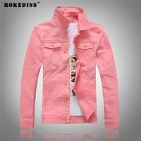 ROKEDISS Brand Solid Color Men S Denim Jacket Fashion Retro High Qualtiy Plus Size Casual Denim