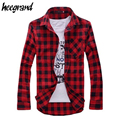 HEE GRAND 2017 New Hot Sale Men's Plaid Check Long Sleeve Shirt Slim Fit Shirts For Men High Quality Shirt I194