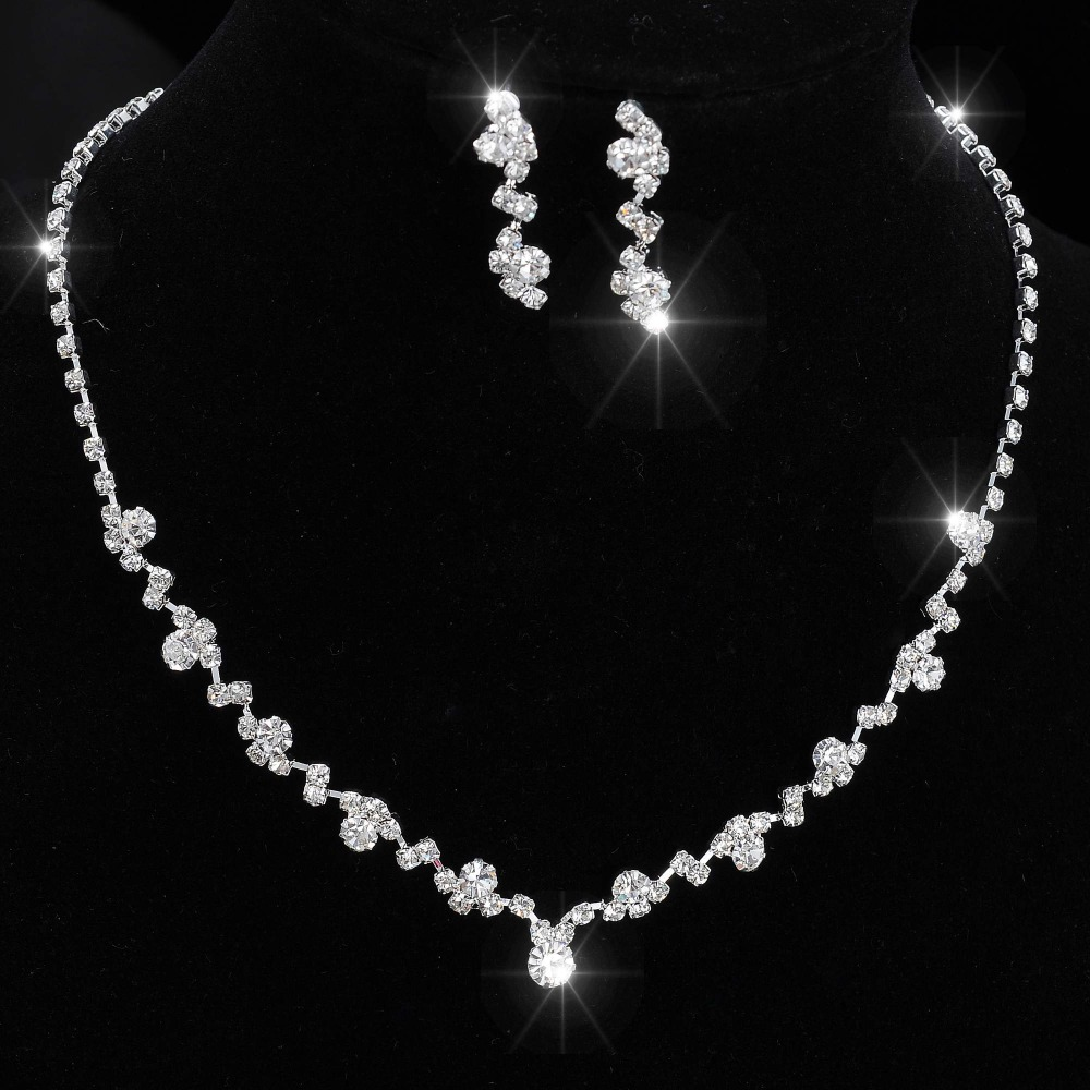 Fashion Silver Tone Crystal Tennis Choker Necklace Set Earrings Factory Price Wedding Bridal Bridesmaid African Jewelry Sets 5