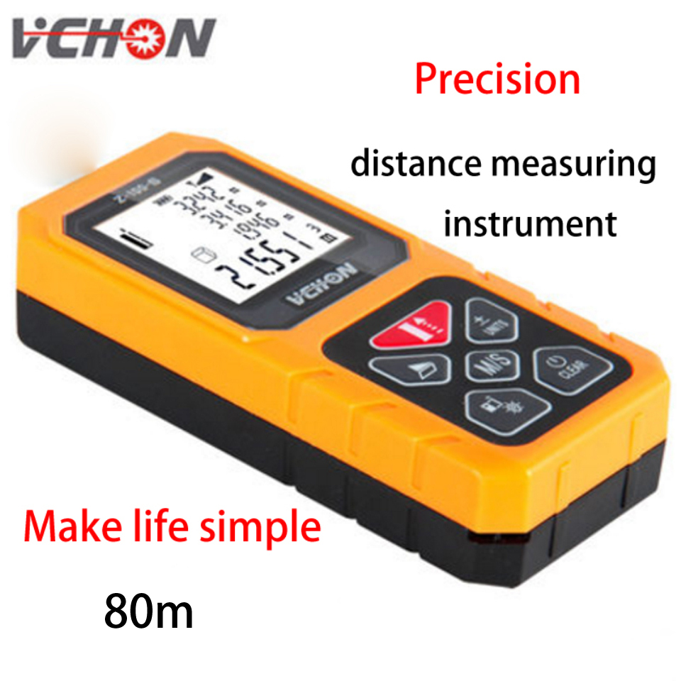 VCHON Laser infrared range finder 80 meters high precision measuring instrument laser electronic measuring room equipment kapro high precision infrared level laser line investment line instrument electronic scale level bubble magnetic wrist strap